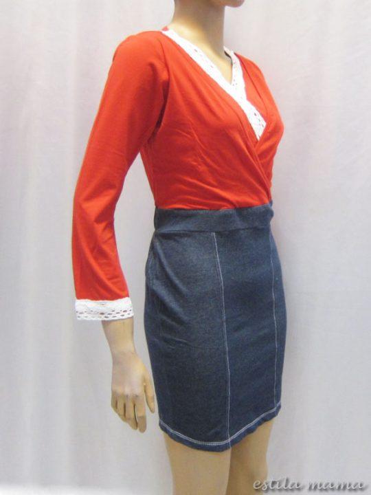 R3507 gb2 dress menyusui merah renda lebar