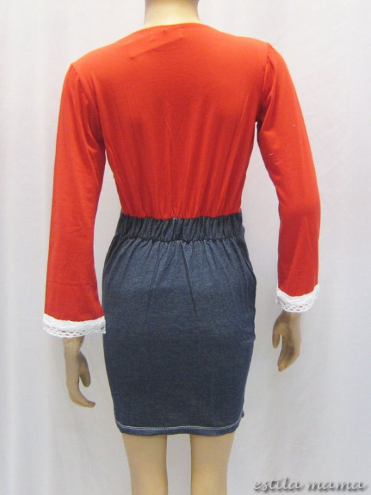 R3507 gb3 dress menyusui merah renda lebar