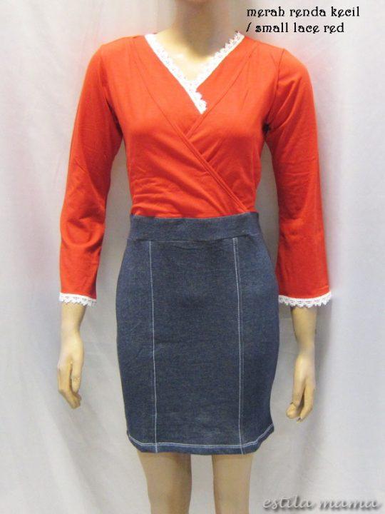 R3507 gb4 dress menyusui merah renda kecil