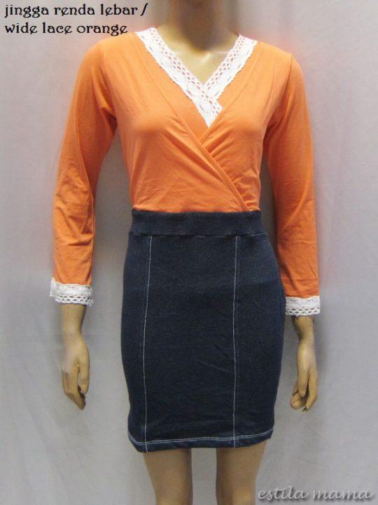 R3507 gb5 dress menyusui jingga renda lebar