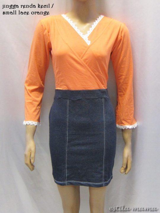 R3507 gb6 dress menyusui jingga renda kecil