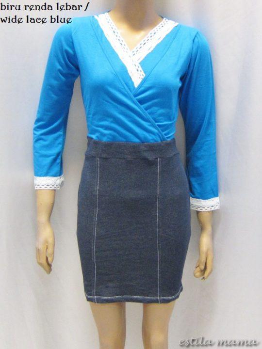 R3507 gb8 dress menyusui biru renda lebar