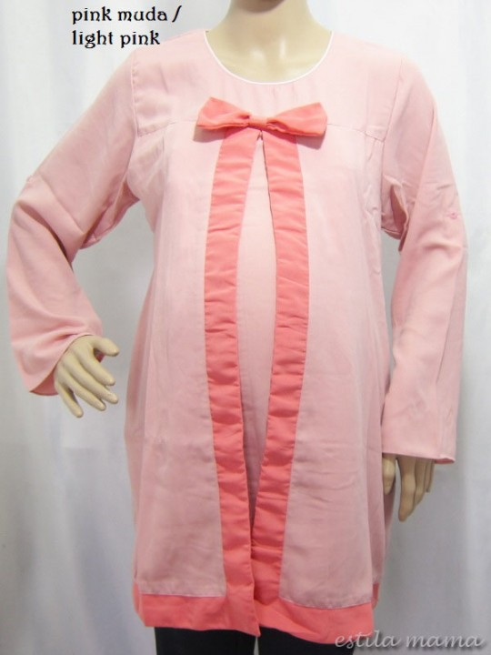 R25108 gb7 baju hamil menyusui pink muda