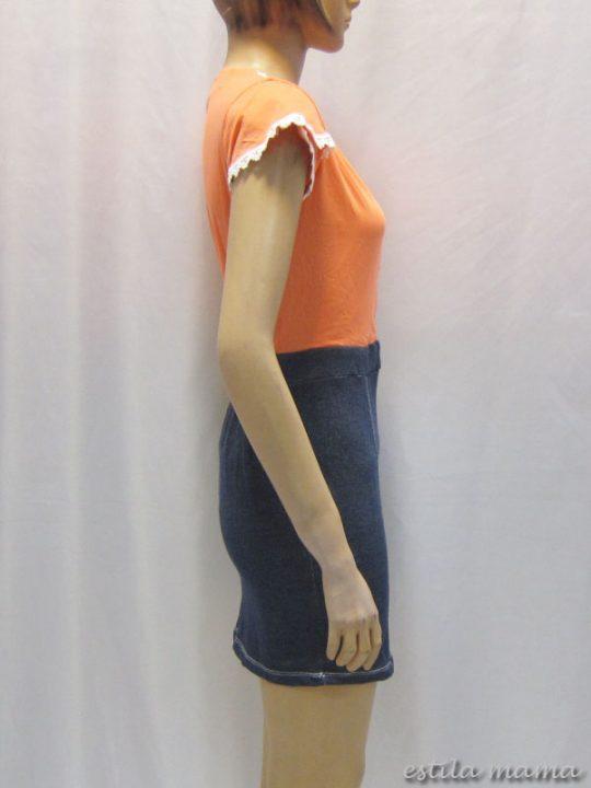 R3424 gb2 dress menyusui jingga renda kecil