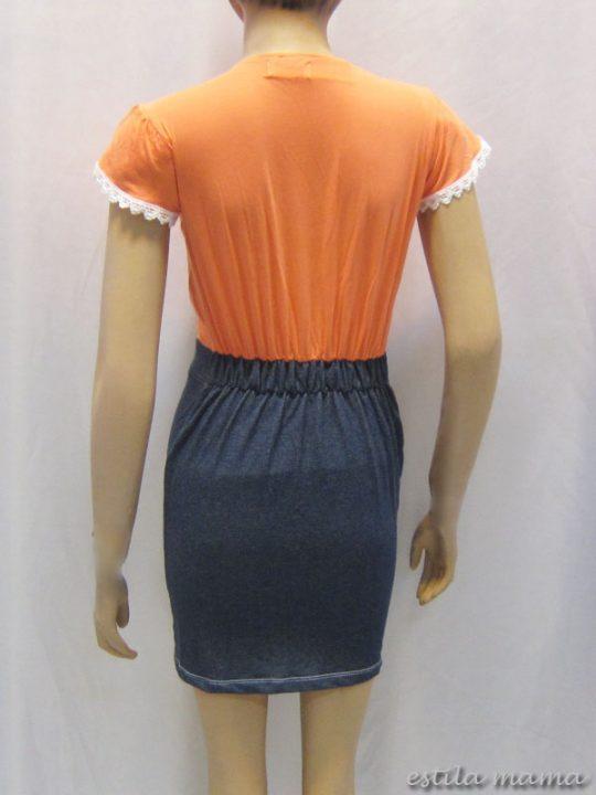 R3424 gb3 dress menyusui jingga renda kecil