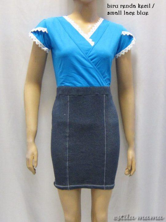R3424 gb4 dress menyusui biru renda kecil