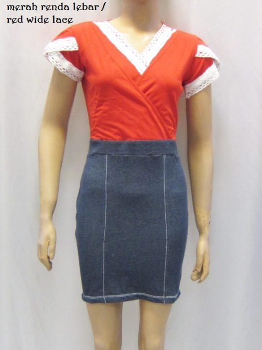R3424 gb7 dress menyusui merah renda lebar