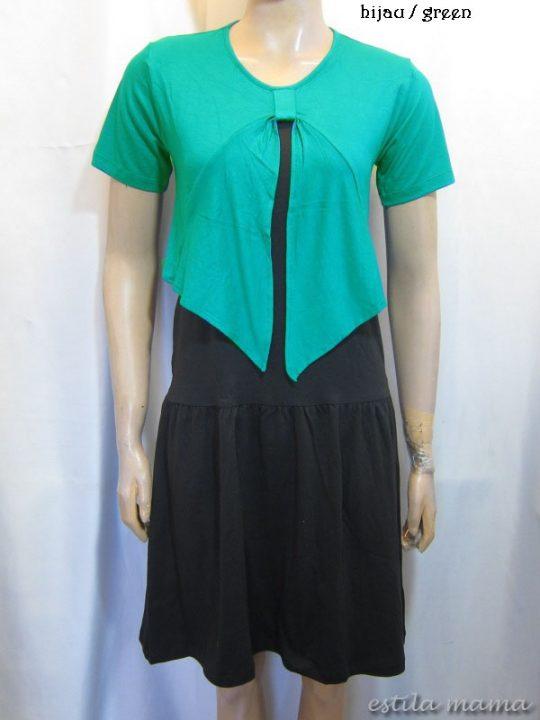 R3466 gb5 dress menyusui hijau