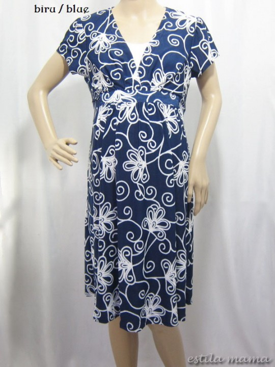 R34106 gb1 dress hamil menyusui biru