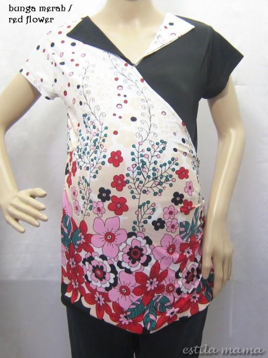 R24124 gb1 baju hamil menyusui bunga merah