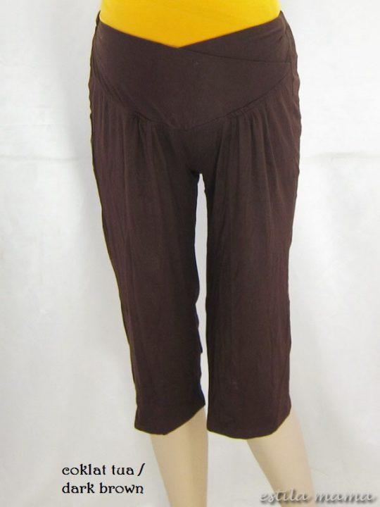 M8619 gb1 legging hamil pendek coklat tua