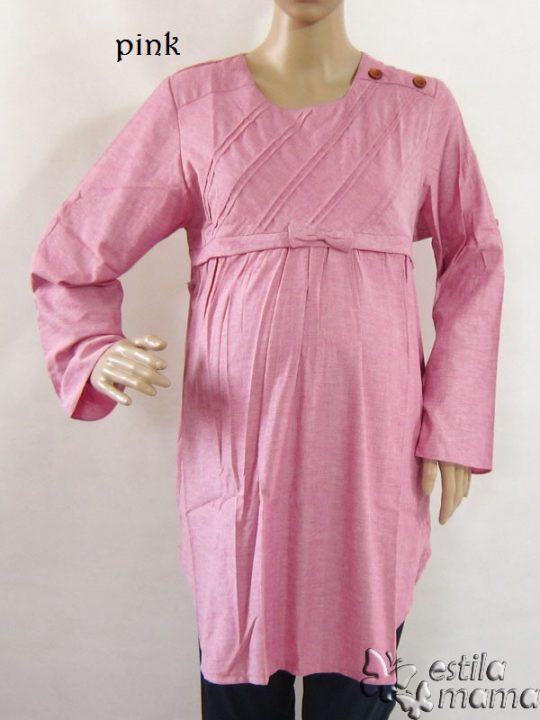 R25123 gb1 baju hamil menyusui lgn pjg pink