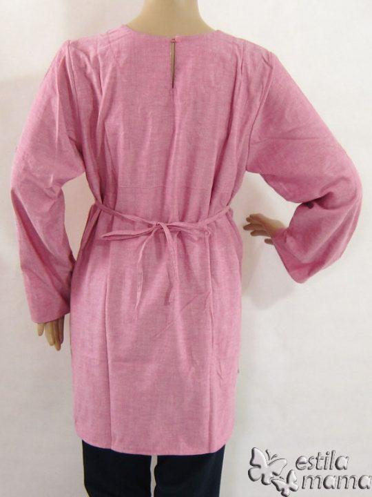 R25123 gb4 baju hamil menyusui lgn pjg pink