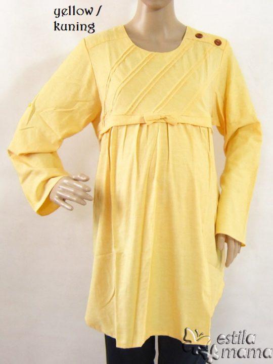 R25123 gb7 baju hamil menyusui lgn pjg kuning