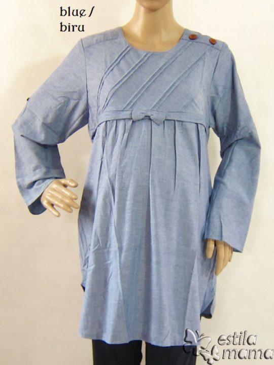 R25123 gb9 baju hamil menyusui lgn pjg biru