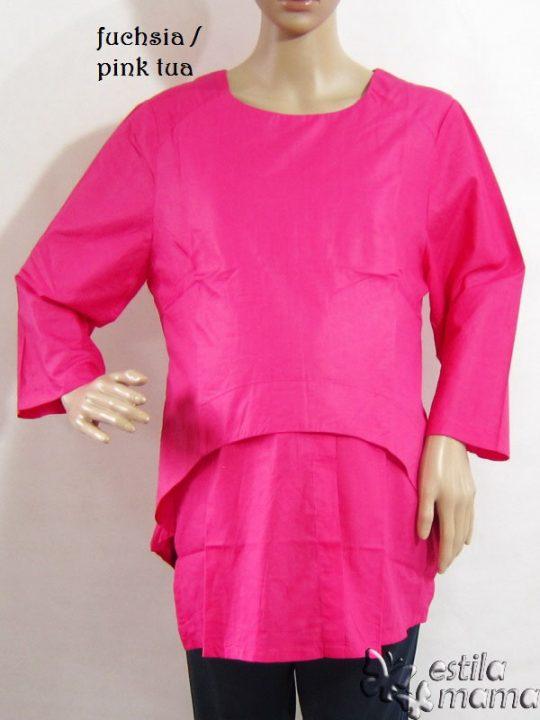 R25125 gb1 baju hamil menyusui lgn pjg pink tua
