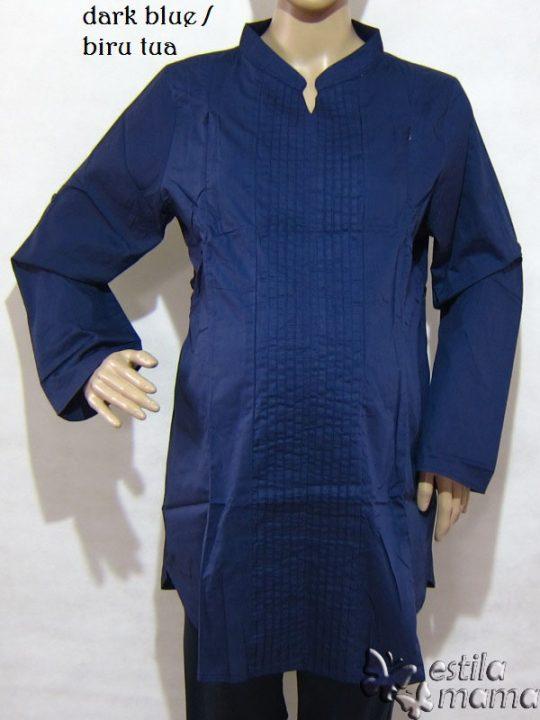 R25134 gb5 baju hamil menyusui lgn pjg biru tua