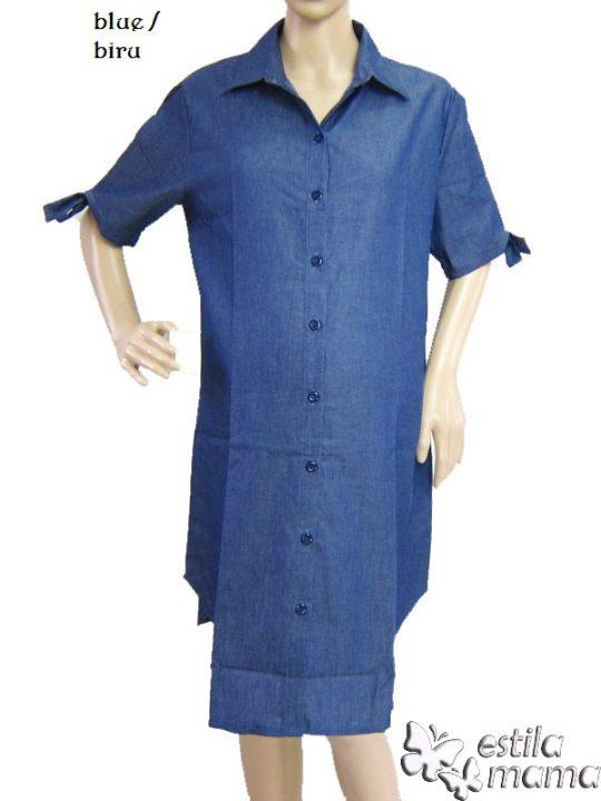 M36142 gb1 dress hamil menyusui lgn pdk biru