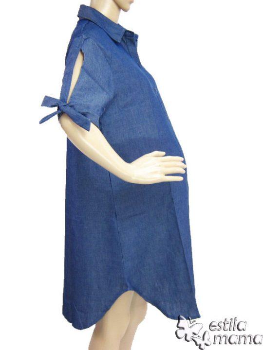 M36142 gb2 dress hamil menyusui lgn pdk biru