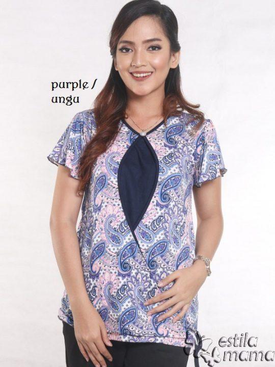 R14100 motif batik ungu gb1 kaos hamil menyusui lgn pdk