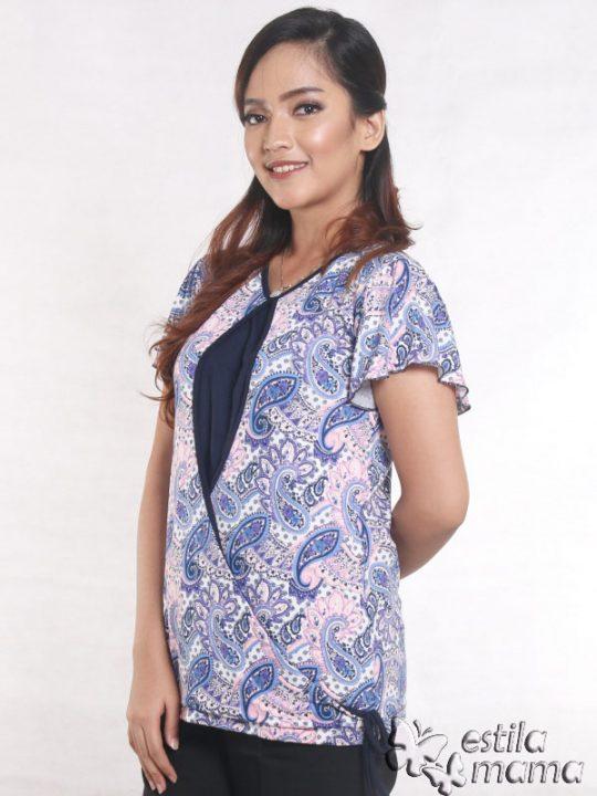 R14100 motif batik ungu gb2 kaos hamil menyusui lgn pdk