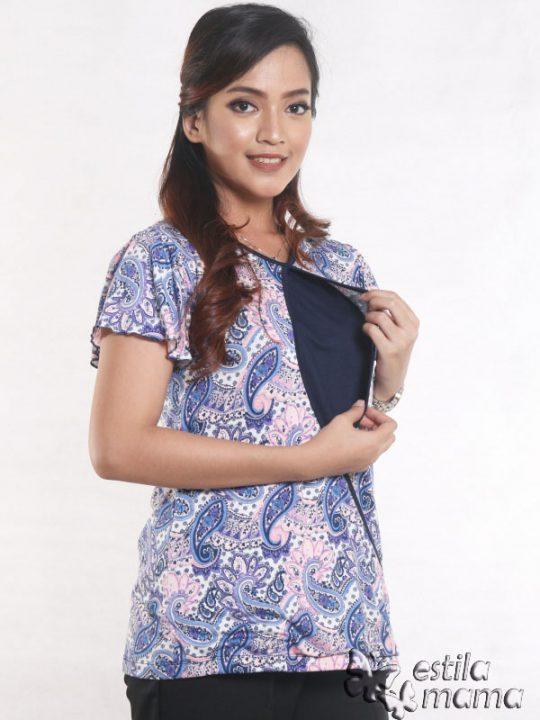 R14100 motif batik ungu gb3 kaos hamil menyusui lgn pdk