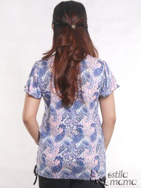 R14100 motif batik ungu gb4 kaos hamil menyusui lgn pdk