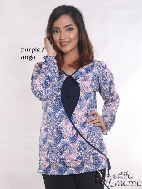 R1564 motif batik ungu gb1 kaos hamil menyusui lgn pjg