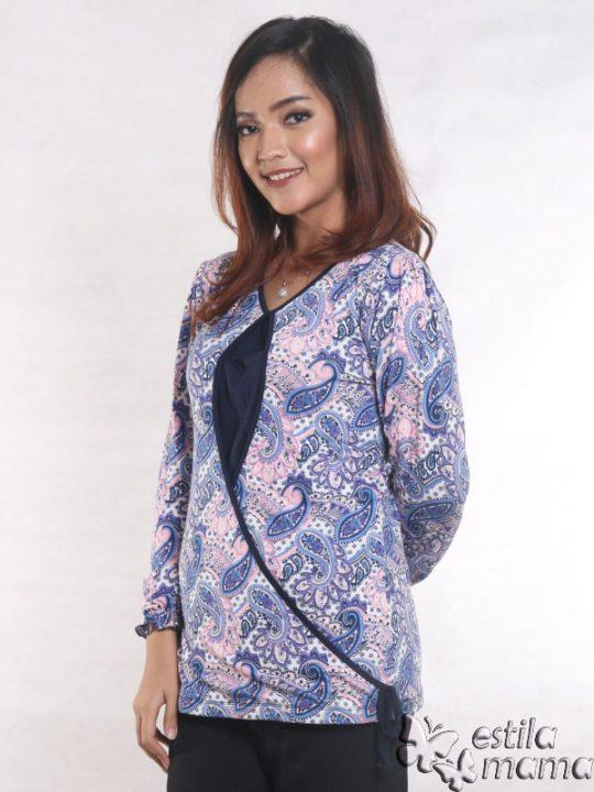 R1564 motif batik ungu gb2 kaos hamil menyusui lgn pjg