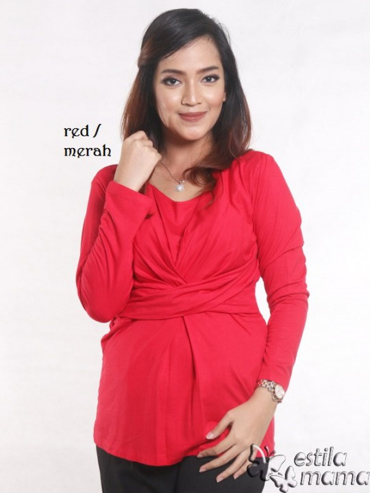 R1565 merah gb1 kaos hamil menyusui lgn pjg