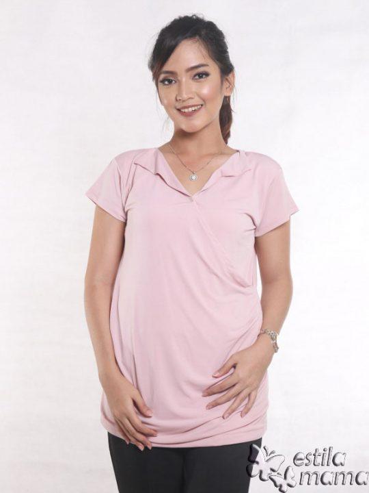 R24123 pink gb5 baju hamil menyusui lgn pdk