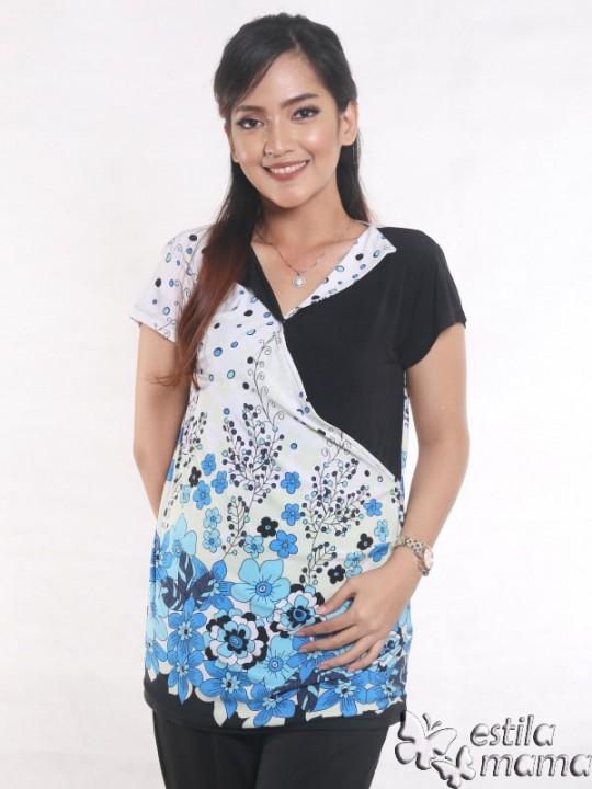 R24124 biru gb5 baju hamil menyusui lgn pdk