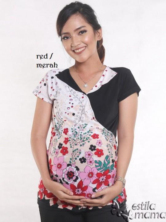 R24124 merah gb1 baju hamil menyusui lgn pdk