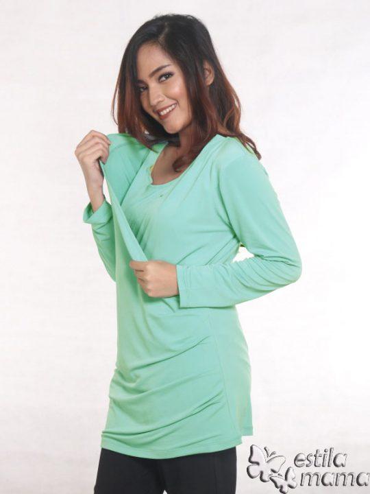 R25121 hijau mint gb3 baju hamil menyusui lgn pjg