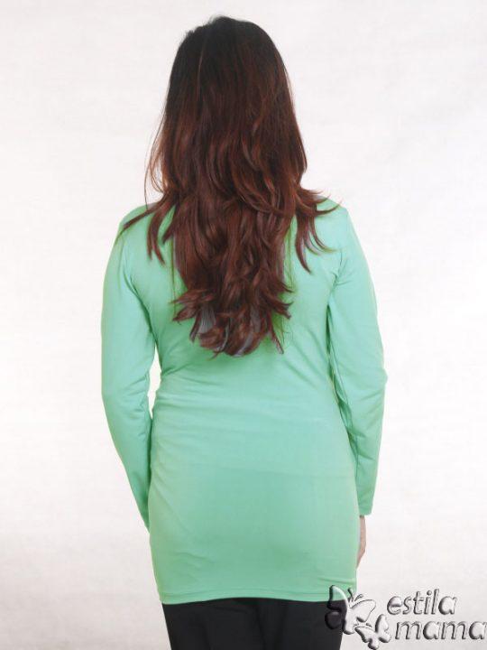 R25121 hijau mint gb4 baju hamil menyusui lgn pjg