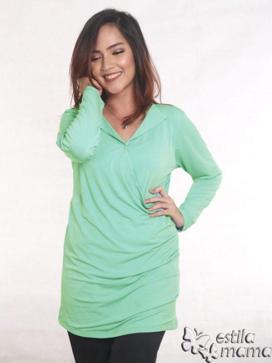 R25121 hijau mint gb5 baju hamil menyusui lgn pjg