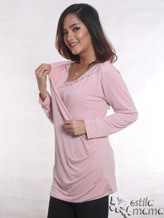 R25121 pink dusty gb3 baju hamil menyusui lgn pjg
