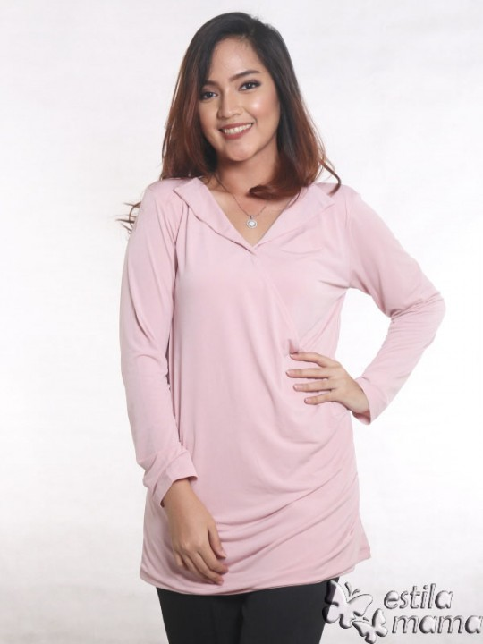 R25121 pink dusty gb5 baju hamil menyusui lgn pjg