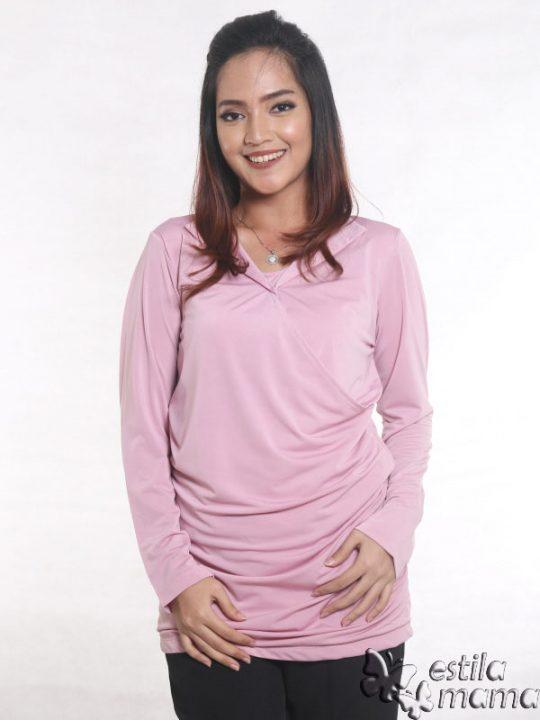 R25121 pink gb5 baju hamil menyusui lgn pjg