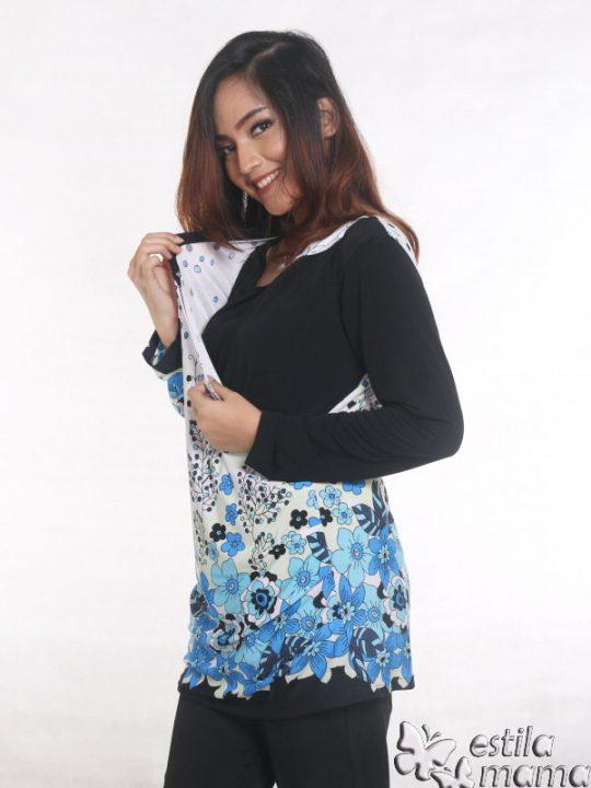 R25122 biru gb3 baju hamil menyusui lgn pjg