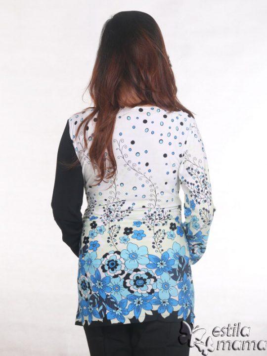 R25122 biru gb4 baju hamil menyusui lgn pjg