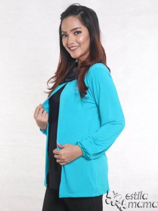 R2593 biru gb2 baju hamil menyusui lgn pjg