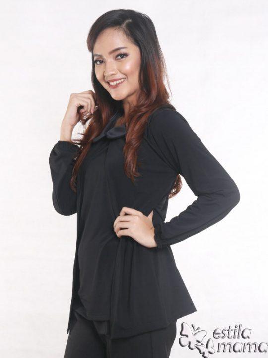 R2593 hitam gb2 baju hamil menyusui lgn pjg