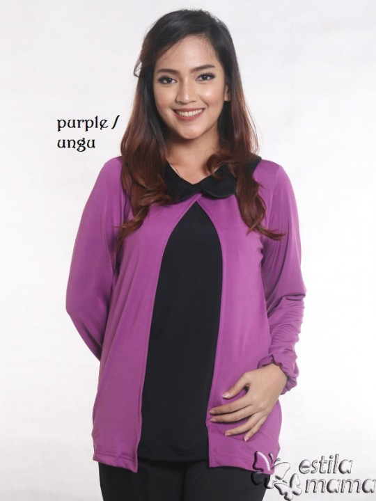 R2593 ungu gb1 baju hamil menyusui lgn pjg