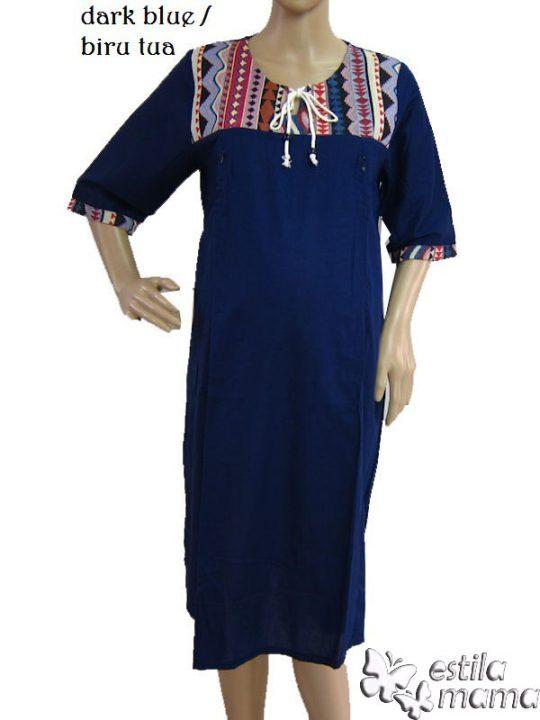 R34138 gb1 dress hamil menyusui lgn pdk biru