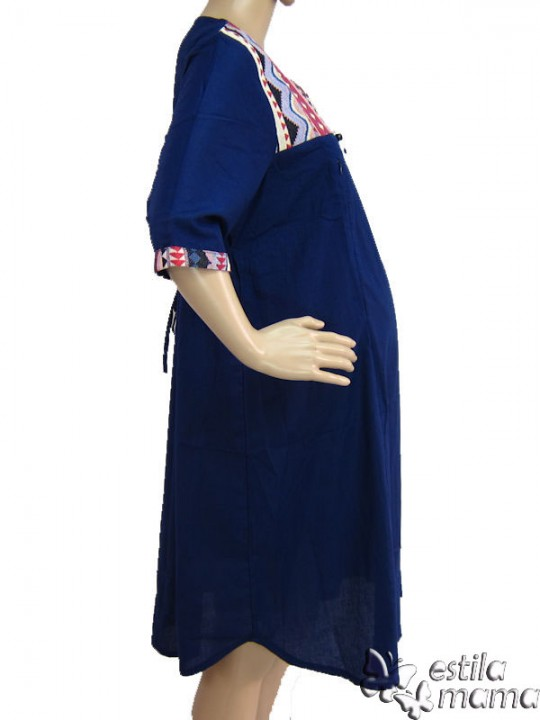 R34138 gb3 dress hamil menyusui lgn pdk biru