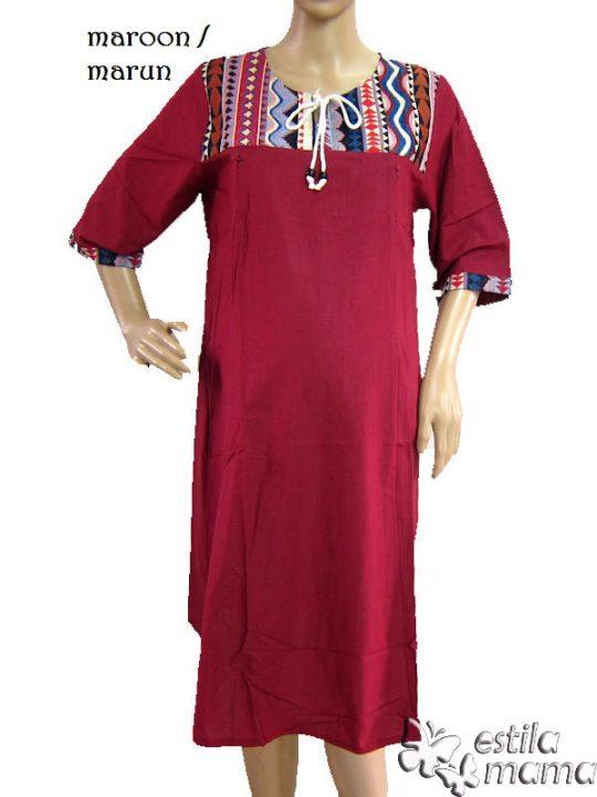 R34138 gb5 dress hamil menyusui lgn pdk marun