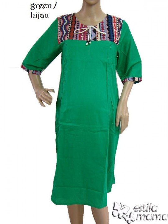 R34138 gb9 dress hamil menyusui lgn pdk hijau