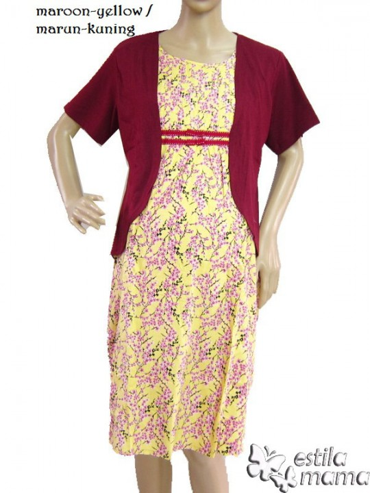R34140 gb1 dress hamil menyusui lgn pdk marun-kuning
