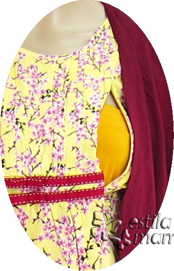 R34140 gb2 dress hamil menyusui lgn pdk marun-kuning